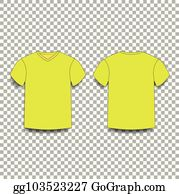 Yellow Mens T Shirt Template V Neck Front And Back Side Views