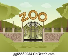 Vector Art Zoo With Cartoon Animals Clipart Drawing Gg68859093
